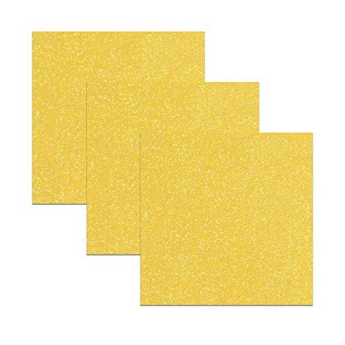 Three (3) 10x12 Sheets of Glitter Iron-on Heat Transfer Vinyl Sheets New Colors (Lemon Sugar)