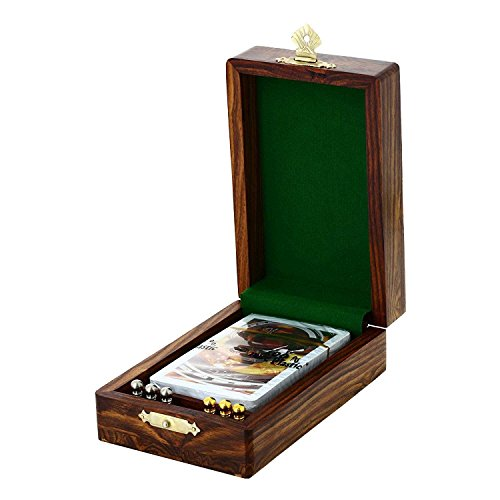 Indian Glance Cribbage Board Game With Storage Unique Metal Pegs and Playing cards Game Gift Set (Cribbage Board Toys)
