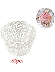 Yueton Pack of 50 Filigree Vine Cupcake Wrappers Wraps Liner Wedding Party Baby Shower Cake Decoartion(White)