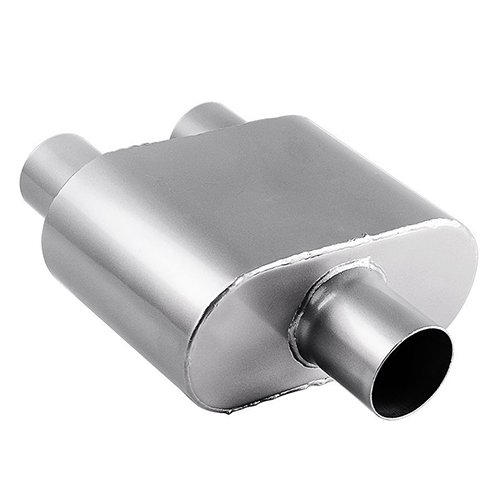 2.5 Inch Inlet Muffler, AUTOSAVER88 Universal Stainless Steel Welded Exhaust Muffler Deep Sound for Cars, 2.5 Inch Single Inlet 2.25 Inch Dual (Performance Dual Exhaust)