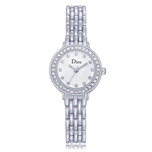 Woaills Rose Gold Plated Women's Elegant Rhinestone Bracelet Quartz Watch Fashion Ladies Dress Watches Band Length 18.3cm (C) ()