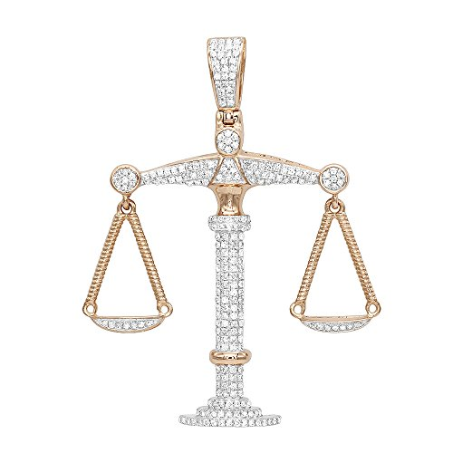 10K Rose, White ir Yellow Gold Diamond Libra Pendant Charm Real Gold Zodiac Jewelry 1.1ctw (Rose Gold)
