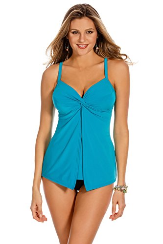 Miraclesuit Women's Miracle Solids Love Knot Underwire Tankini Top Lagoon 16