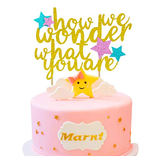 How We Wonder What You are Cake Topper for Kids Birthday Party Baby Shower Gender Reveal Gold Glitter Decorations ()