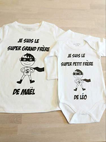 Cadeau naissance personnalisé tee shirt super grand frère et body super petit frère, annonce grossesse, futur grand frère, superhéro