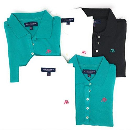 Aeropostale Women's Polo Shirt Set of 5 Teal/Teal/White/White/Black Medium