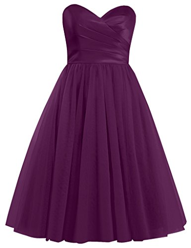 Sweetheart Dress Homecoming Tulle Cdress Short Bridesmaid Gowns Dresses Cocktail Grape qFWIZBwA