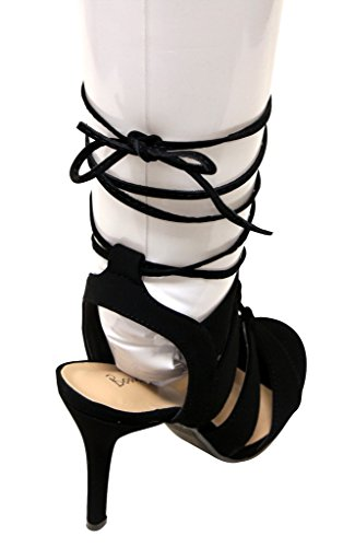 Bonnibel Annie-1 Womens open toe bondage high heel gilly tie wrap suede sandals Black KFkGiS