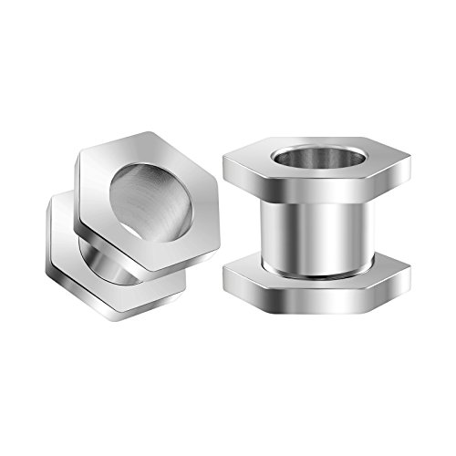 BIG GAUGES Pair Surgical Steel Zero Gauge 8mm Polished Hexagon Screw-Fit Flesh Tunnels Piercing Jewelry Ear Plugs Lobe -