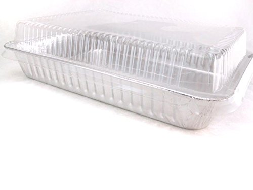 Disposable Aluminum 13 x 9 x 2 Cake Pan with Clear Plastic Lid #4700P (50)