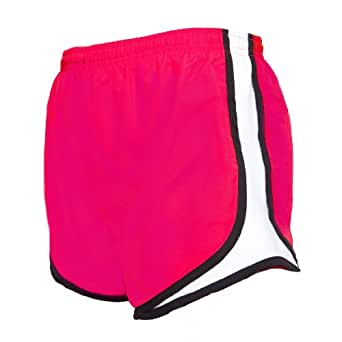 Fuschia Pink and black jersey white side stripe sport velocity shorts, Small
