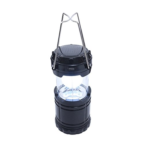 Outdoor LED Light Solar USB Rechargeable 1000 Lumens Camping Lantern Portable Survival Lamp for Emergency Hurricanes Hiking Storm(Black)