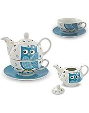 Porseleinen theeset Tea for one theeservies uil blauw wit theepot kop onderzetter