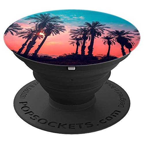 Silhouette So Pretty Coconut Palms Trees On Sunset - PopSockets Grip and Stand for Phones and Tablets