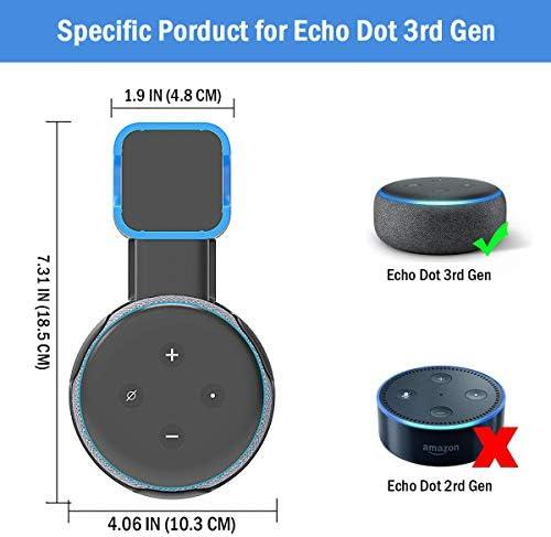 Soporte de montaje en pared Echo Dot, soporte de montaje en pared de salida, accesorios que ahorran espacio para el altavoz inteligente Dot de 3.a generación, accesorios inteligentes Echo Dot con gestión de cables, ocultación de cables desordenados (negro, 2 unidades) 4