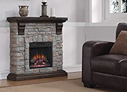 Classic Flame Pioneer Stone Electric Fireplace Mantel Package, Brushed Dark Pine - 18WM10400-I601 by ClassicFlame