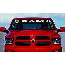 "40"" Dodge Ram Hemi Windshield Logo 1500 2500 3500 Vinyl Decal Sticker Vinyl Gift (White)"