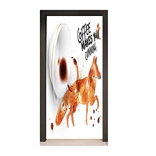 - Coffee Art 3D Door Decal Cunning Animal and Human Nature Character Theme Coffee Espresso for Home Room Decoration Burnt Sienna Black White,W17.1xH78.7