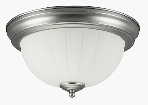 Frosted Melon Glass Light Fixture (Jeremiah X111-BN 2 Light Flush Mount Fixture with Frosted Melon Glass, Brushed Satin Nickel)