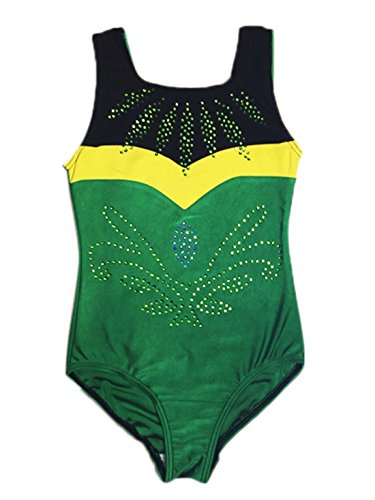 [Sparkle Printing Sports Athletic Gymnastics Leotard Dance Costume Team Uniform Girls Dacning Trianning Exercises Leotards 5-6 Years] (Dance Team Costumes Competition)