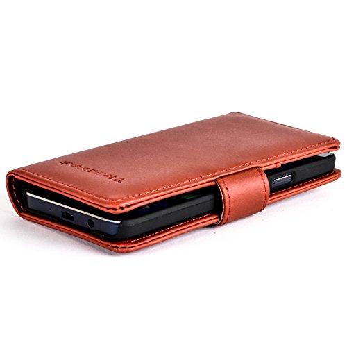 Snakehive® Samsung Galaxy A3 (2015) Funda de cuero laminado de tipo cartera, hecha con dos ranuras para tarjetas de crédito por Samsung Galaxy A3 (2015) (Tostado) Bermejo