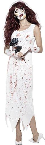 Ladies Bloody Dead Zombie Bride Spooky Creepy White Dress Halloween Fancy Dress Costume Outfit UK 4-18 (UK 4-6) -