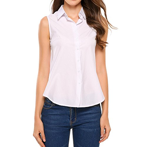 Zeagoo Women's Sleeveless Button Down Shirt Tops Solid Casual Loose Blouse - White White XX-Large Button Down Sleeveless