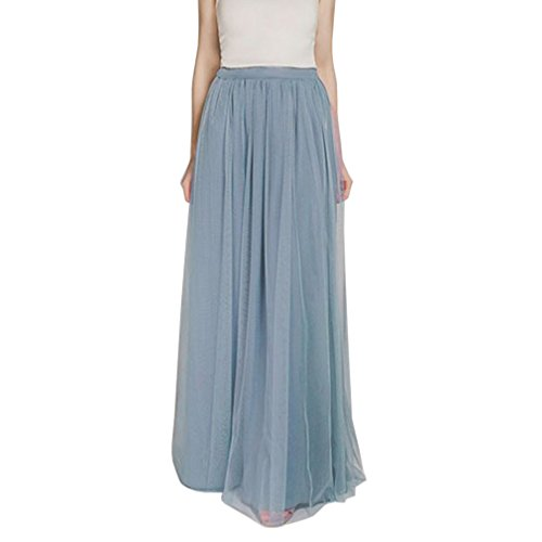WDPL 3 Layers Soft Tulle Skirt Maxi Long Bridal Wedding Skirts for Women (US 4, Dusty Blue)