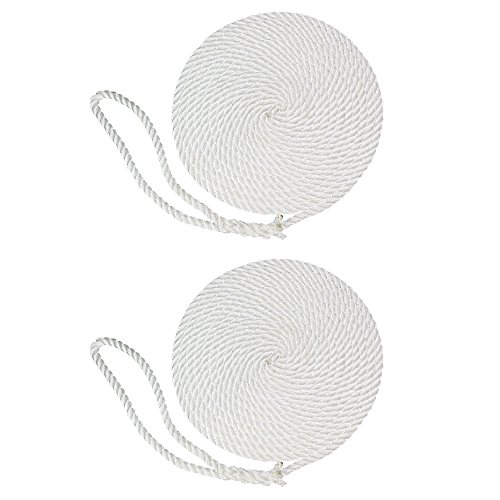 (SGT KNOTS Twisted Nylon Dockline (2-Pack, 1/2 in x 25 ft, White) - 3-Strand Twist Nylon Rope Docklines - Marine Ropes for Boat/Boats - Dock Lines)