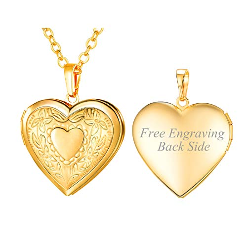 Women Valentines Gift 18K Gold Plated Romantic Customized Heart Photo Locket Necklace, with Personalized Engrave Service