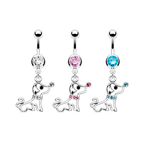 MsPiercing Navel Ring With Dangling Jeweled Puppy Dog, Pink