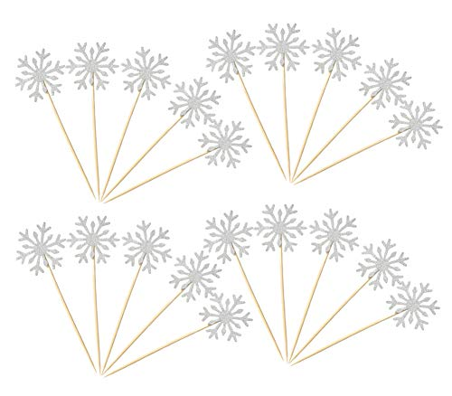 40 Pack Glitter Snowflake Cupcake Toppers Winter Theme Cake Decoration for Christmas Birthday Party Baby Shower Wedding Cake Decoration - White