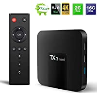 Android TV Box, TX3 Mini Android 7.1.2 TV Box Quad Core 64 Bits WiFi Smart TV Box 4K IPTV Media Player