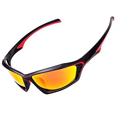 Shieldo Polarized Sports Sunglasses For Men And Women Cycling Driving Mountain Sport Eyeglasses, Mirrored Fashion Shades Eyewear Unbreakable Frame Glasses SLT002