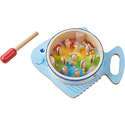 HABA Musical Drumfish - 3 Percussion Instruments in 1 - Drum, Rhythm Stick & Maraca - Brightly Colored for Ages 2+: Toys & Games