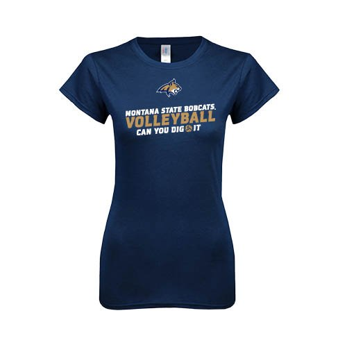 Montana State Next Level Ladies SoftStyle Junior Fitted Navy Tee 'Can you dig it Volleyball Design'