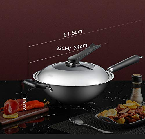 WYQSZ Wok - rust-free household uncoated wok round bottom fine iron wok multi-function less smoked wok -fry pan 2365 (Size : 3410.5cm) by WYQSZ (Image #2)