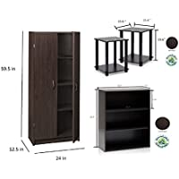 Bundle of 3: ClosetMaid Pantry Cabinet, 2 Pasir 3-Tier Open Shelf, Simplistic End Table, Espresso
