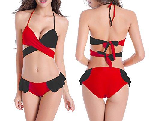 Sayue Las mujeres doblan el sistema del bikiní de dos pedazos del traje de baño del vendaje Negro&rojo