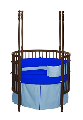Baby Doll Bedding Solid Reversible Round Crib Bedding Set, Light Blue/ Royal Blue Blue Round Crib