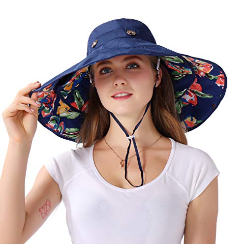 Packable Extra Large Brim Floppy Sun Hat Reversible UPF 50+ Beach Sun Bucket Hat