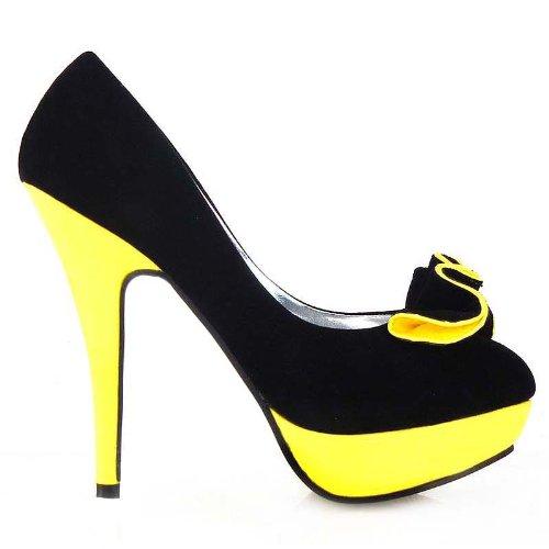 Show Story Black Yellow 2 Tone Ruffle Stiletto Platform High Heel ...