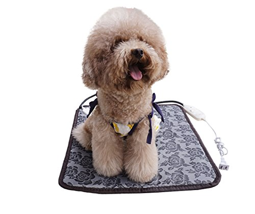 """17.7"""" Electric Heating Pad for Cats Dogs Pets, Pet Warming Mat with Waterproof Fabric Chew Resistant Cord and Overheat Protection"""