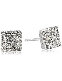 10k White Gold Square Cluster Earrings (0.25 cttw)