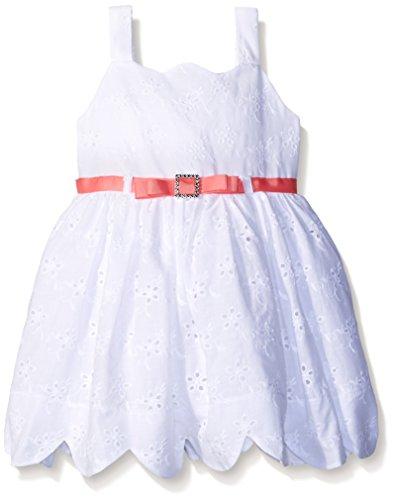 Rose Eyelet Dress - Sweet Heart Rose Little Girls Scallop Hem Eyelet Dress, White, 6X