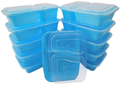 Table To Go 20-Pack Bento Lunch Boxes with Lids (2 Compartment/ 32 oz) | Microwaveable, Dishwasher & Freezer Safe Meal Prep Containers | Reusable Dish Set for Prepping, Portion Control & More (Blue)
