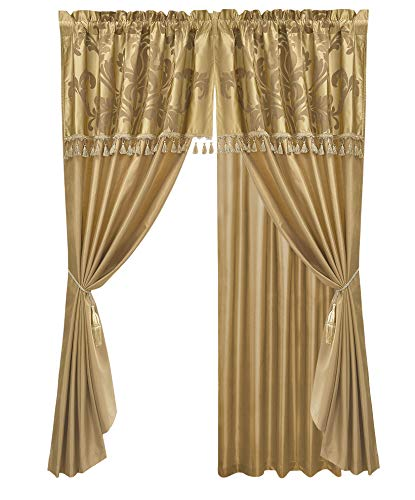Gold Curtain Set - Chezmoi Collection Royale 4-Piece Jacquard Floral Window Curtain/Drape Set Sheer Backing Tassels Valance, Gold