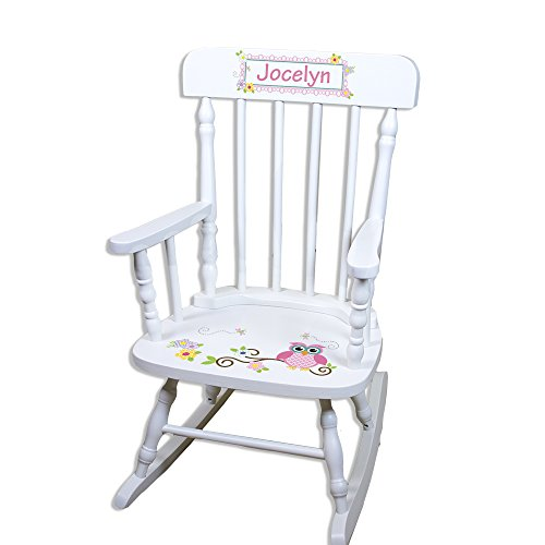 (Children's Personalized White Pink Owl Rocking Chair)