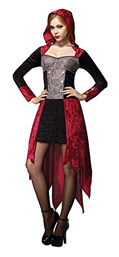 Bristol Novelty AC652 Demon Maiden Hooded Dress, Red,