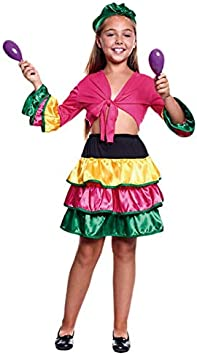 Disfraz Brasileña Colorful Niña (7-9 años) (+ Tallas) Carnaval Mundo